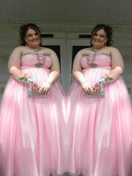 A-Line Strapless Beading Floor-Length Satin Plus Size Prom Dresses