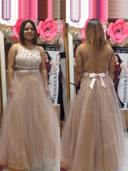 A-Line Scoop Beading Floor-Length Tulle Plus Size Prom Dresses