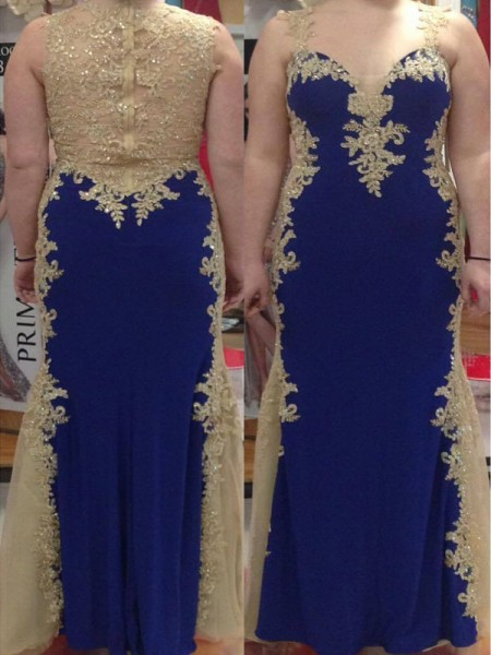 Sheath Straps Applique Floor-Length Elastic Woven Satin Plus Size Prom Dresses