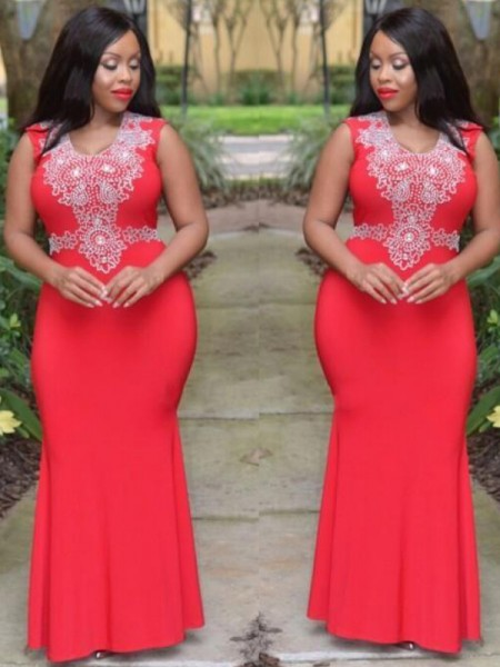 Sheath Scoop Beading Floor-Length Jersey Plus Size Prom Dresses
