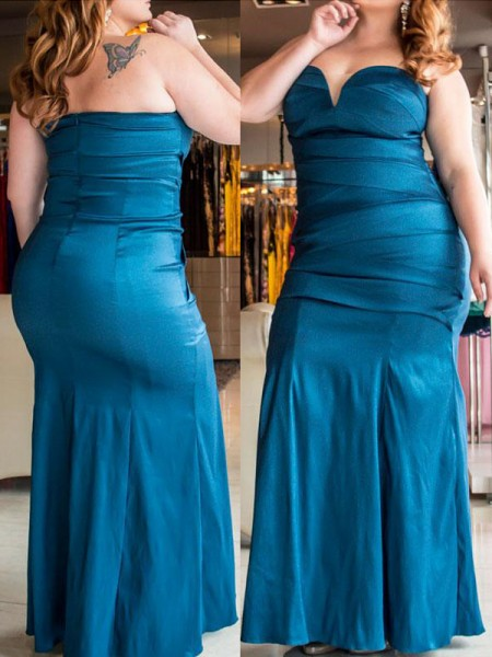 Mermaid Sweetheart Ruched Floor-Length Elastic Woven Satin Plus Size Prom Dresses