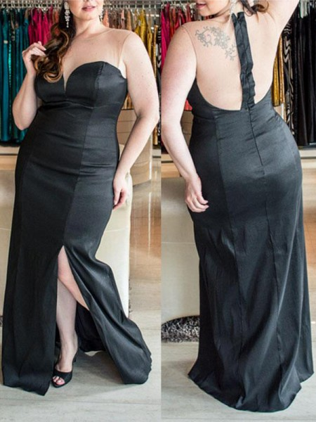 Sheath Sweetheart Ruched Floor-Length Elastic Woven Satin Plus Size Prom Dresses