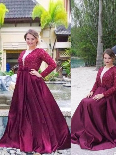 A-Line V-neck Beading Sweep/Brush Train Satin Plus Size Prom Dresses