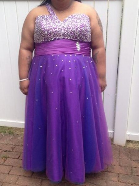 A-Line One-Shoulder Beading Floor-Length Tulle Plus Size Prom Dresses
