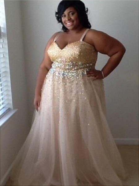 A-Line Spaghetti Straps Beading Floor-Length Tulle Plus Size Prom Dresses