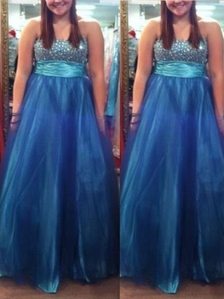 A-Line Sweetheart Beading Floor-Length Tulle Plus Size Prom Dresses