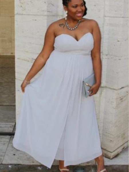 A-Line Sweetheart Ruched Ankle-Length Chiffon Plus Size Prom Dresses