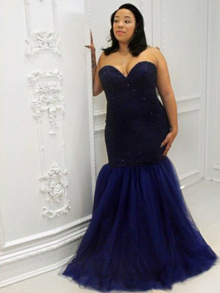 Mermaid Sweetheart Sequin Floor-Length Tulle Plus Size Prom Dresses