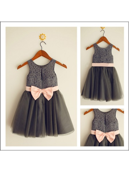 A-Line Scoop Bowknot Tulle Flower Girl Dresses