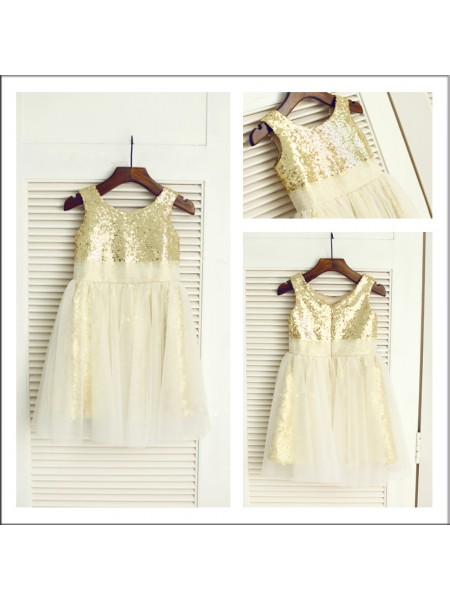 A-Line Scoop Sequin Sequins Flower Girl Dresses