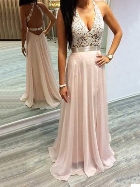 A-Line Halter Chiffon Lace Sweep/Brush Train Prom Dresses