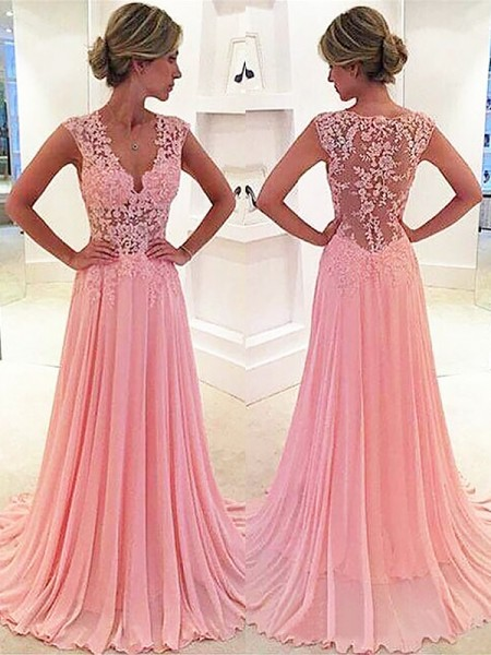 A-Line Chiffon Lace V-neck Sweep/Brush Train Prom Dresses