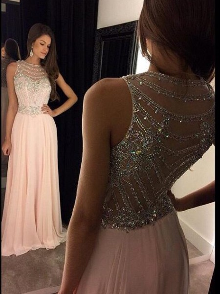 A-Line Scoop Chiffon Crystal Floor-Length Prom Dresses