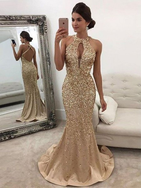 Mermaid Halter Sequin Sweep/Brush Train Satin Prom Dresses