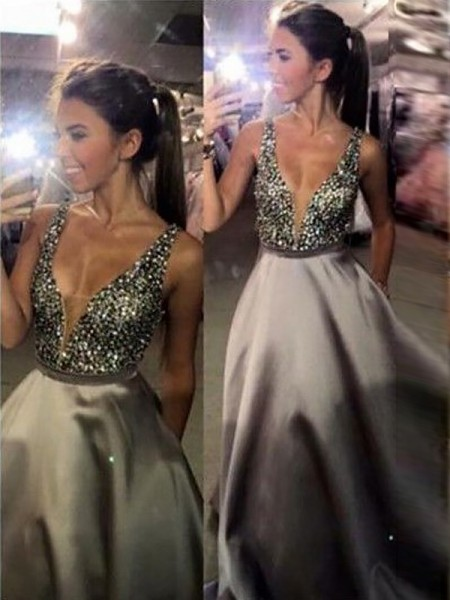 A-Line V-Neck Sweep/Brush Train Beading Satin Prom Dresses