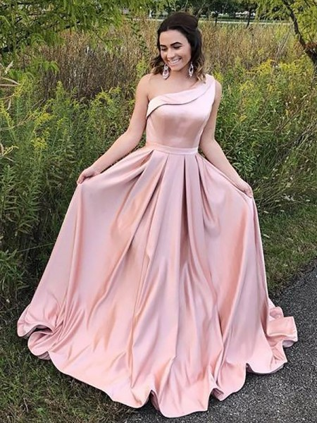 A-Line One-Shoulder Sweep/Brush Train Ruffles Satin Prom Dresses