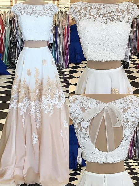 A-Line Bateau Chiffon Lace Floor-Length Two Piece Prom Dresses