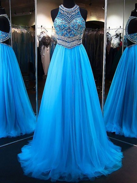 A-Line Jewel Sweep/Brush Train Beading Tulle Prom Dresses