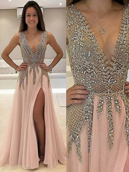 A-Line V-Neck Sweep Train Beading Tulle Prom Dresses