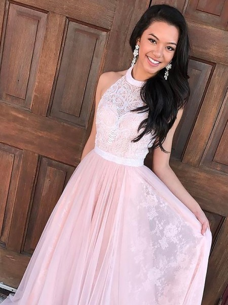 A-Line Halter Tulle Lace Sweep/Brush Train Prom Dresses