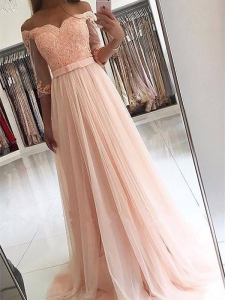 A-Line Off-the-Shoulder Tulle Sash/Ribbon/Belt Sweep/Brush Train Prom Dresses