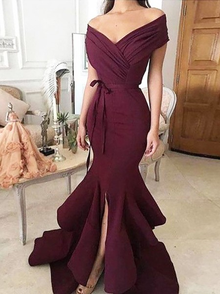 Mermaid Off-the-Shoulder Floor-Length Ruched Satin Prom Dresses