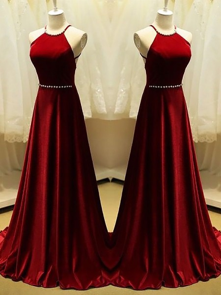 Halter Sweep/Brush Train With Beading Satin A-Line Prom Dresses