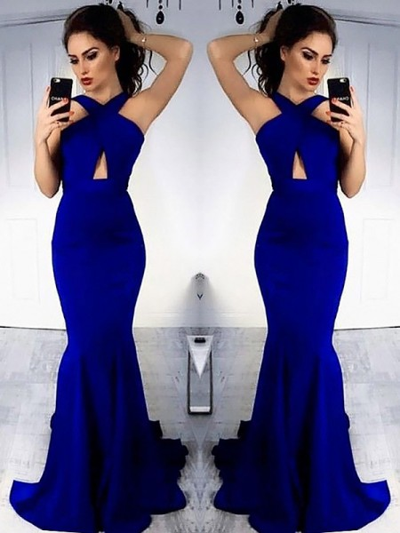 Halter Sweep/Brush Train With Ruched Satin Sheath Prom Dresses