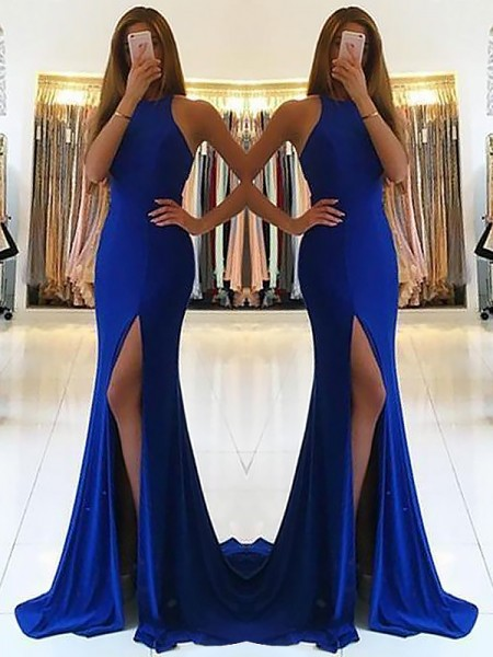 Halter Sweep/Brush Train With Ruffles Elastic Woven Satin Sheath Prom Dresses