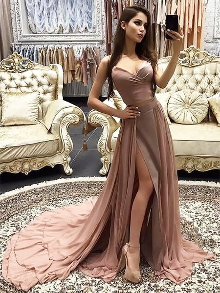 Sweetheart Sweep/Brush Train With Layers Chiffon A-Line Prom Dresses