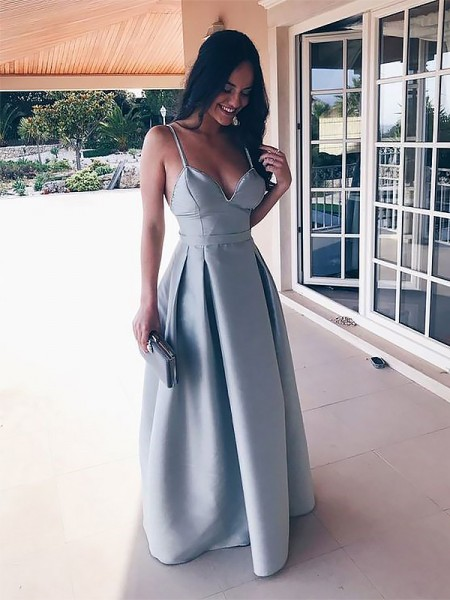 Spaghetti Straps Floor-Length With Ruffles Satin A-Line Prom Dresses