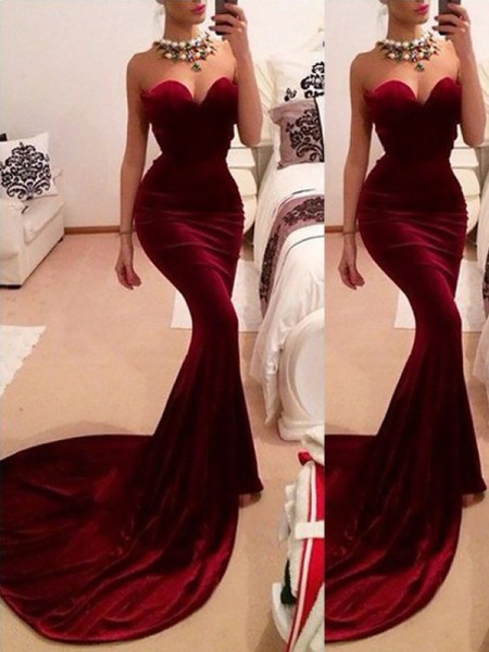 Mermaid Sweetheart Sweep/Brush Train Velvet Ruffles Prom Dresses