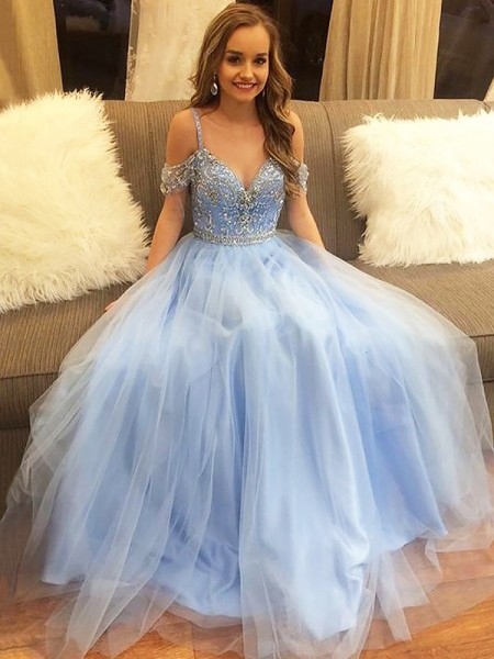 A-Line Off-the-Shoulder Floor-Length Tulle Beading Prom Dresses