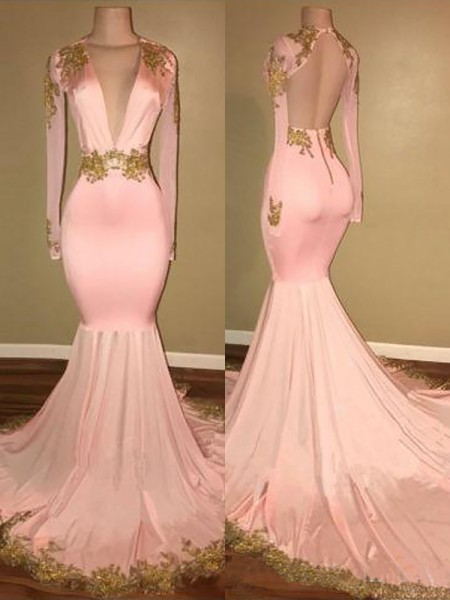 Mermaid V-neck Sweep/Brush Train Silk like Satin Applique Prom Dresses