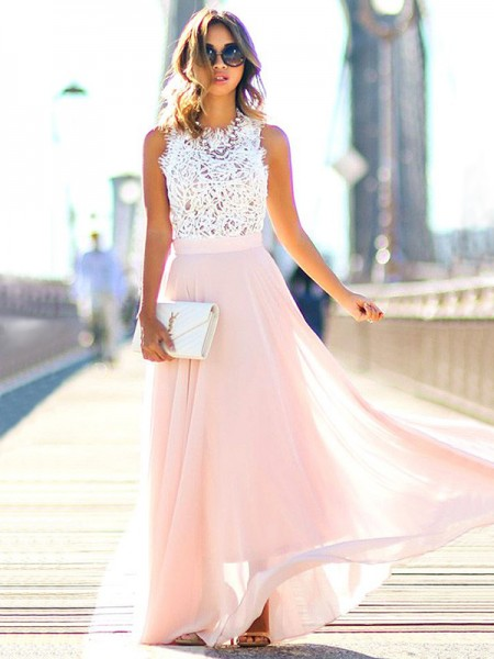 A-Line Jewel Floor-Length Lace Chiffon Prom Dresses