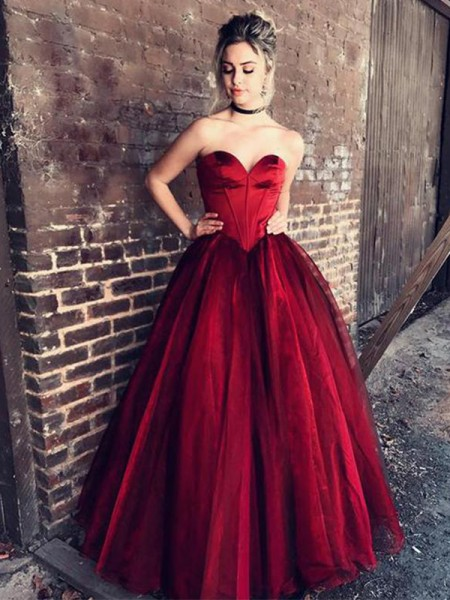 Ball Gown Sweetheart Floor-Length With Ruffles Tulle Prom Dresses