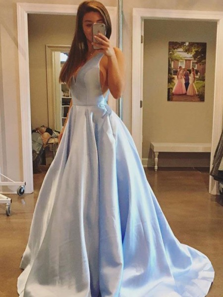 A-Line V-neck Sweep/Brush Train With Ruffles Satin Prom Dresses