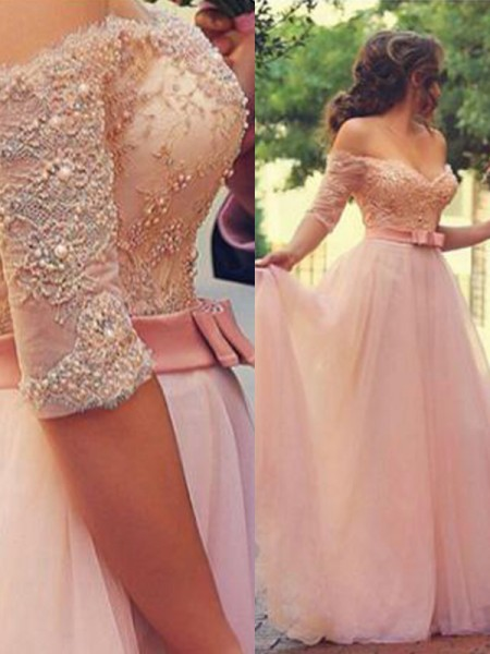 A-Line Off-the-Shoulder Lace Tulle Prom Dresses