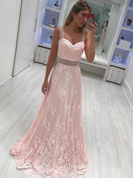A-Line Sweetheart Applique Satin Prom Dresses