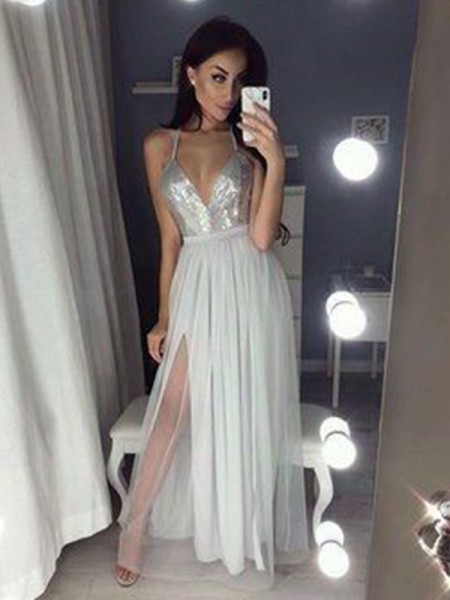 A-Line Straps V-neck Ruched Chiffon Beading Floor-Length Prom Dresses