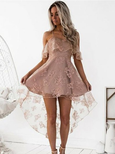 A-Line Off-the-Shoulder Lace Satin Short/Mini Homecoming Dresses