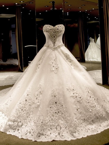 Sweetheart Cathedral Train Applique Sequin Tulle Ball Gown Wedding Dresses