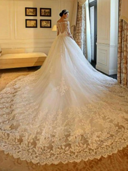 Off-the-Shoulder Cathedral Train Beading Applique Tulle Ball Gown Wedding Dresses