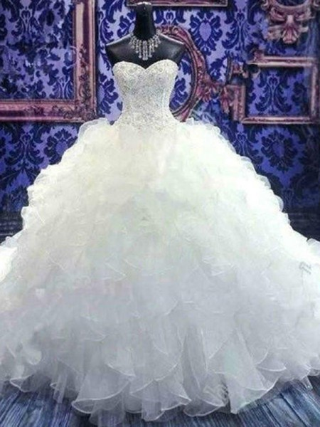 Sweetheart Chapel Train Beading Sequin Organza Ball Gown Wedding Dresses