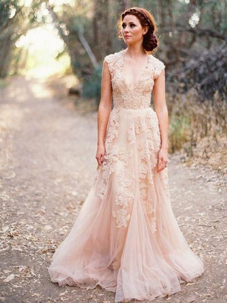 A-Line Applique Tulle V-neck Sweep/Brush Train Wedding Dresses