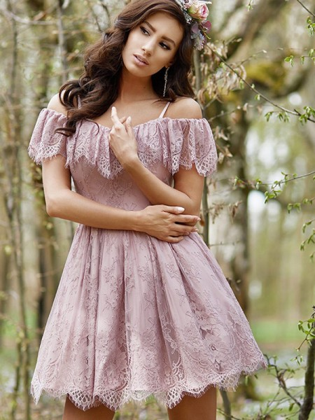 A-Line Ruffles Lace Off-the-Shoulder Short/Mini Homecoming Dresses