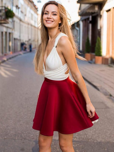 A-Line V-neck Satin Ruffles Short/Mini Homecoming Dresses