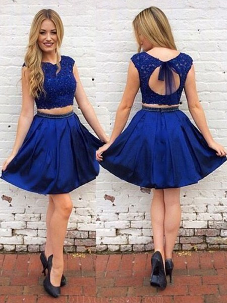 A-Line Satin Sash/Ribbon/Belt Scoop Short/Mini Two Piece Homecoming Dresses