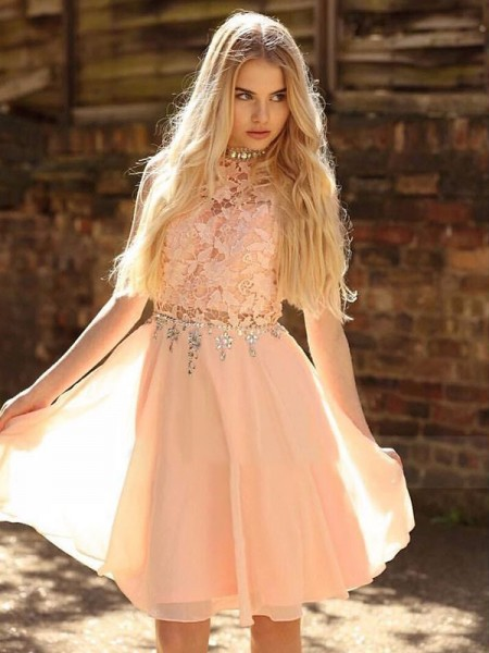 Pearl Pink  Knee-Length Chiffon Homecoming Dresses