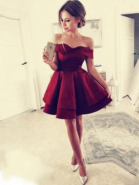 A-Line Ruffles Satin Off-the-Shoulder Short/Mini Homecoming Dresses